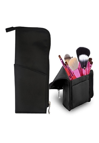 Travel Makeup Brush Holder And Cosmetic Pouch Black