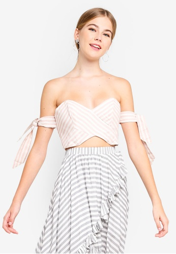 0e9f9a4100b8ea Shop INDIKAH Off Shoulder Tie Sleeve Crop Top Online on ZALORA ...