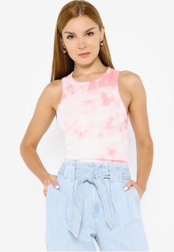 Banana Republic pink Sleeveless Cotton Rib Cutaway Tank Top 936A4AA8D7D884GS_1