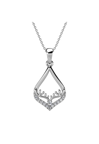 Her Jewellery silver Victorina Pendant (White Gold) - Made with Premium grade crystals from Austria D5161ACE006454GS_1