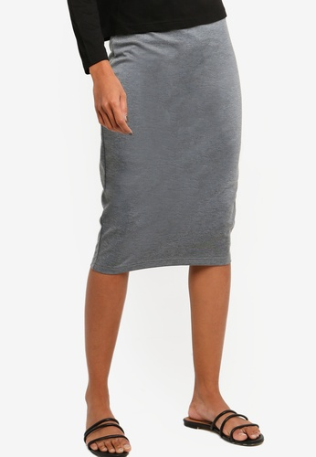 ZALORA BASICS grey Basic High Waisted Jersey Skirt A3B3DAAB27F3EAGS_1