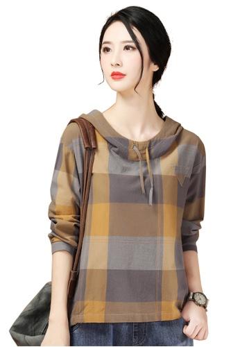 A-IN GIRLS multi Fashion Checkered Hooded Blouse B8B81AA0D7F5B3GS_1