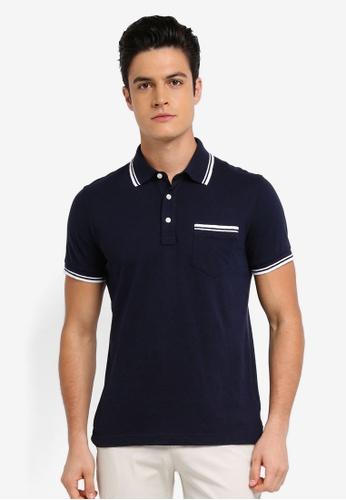 Brooks Brothers navy Red Fleece Slub Pocket Polo Shirt D2B68AA592F2BEGS_1