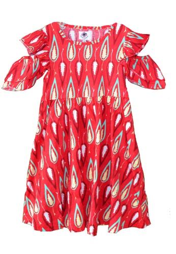 Roses & Rhinos red and multi Leaf Peep Dress 613B3KA53F2EEAGS_1