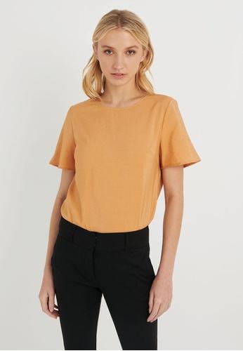 FORCAST brown FORCAST Rania Short Sleeve Blouse BE593AA00249E5GS_1
