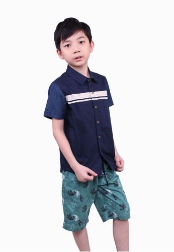 SODA blue Cut & Sew Striped Denim Shirt 01635KAED97AA7GS_1