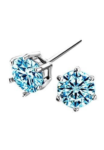 YOUNIQ silver YOUNIQ Hexa CZ 925 Sterling Silver Earrings (Blue) YO999AC61NOWMY_1