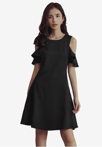 Yoco black Cold Shoulder Shift Dress ABBB0AA34F2B34GS_1