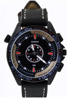 Yazole Deluxe Men's Black Leather Strap Watch 333