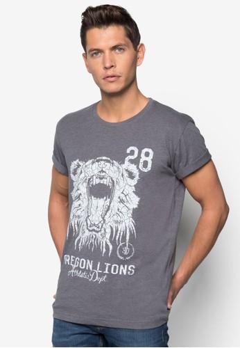Shade zalora 評價獅子圖案文字T 恤, 服飾, 服飾