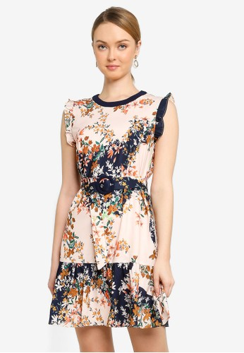 Saturday Club multi Color Block Floral Printed Dress With Belt 1F141AA62B30D1GS_1