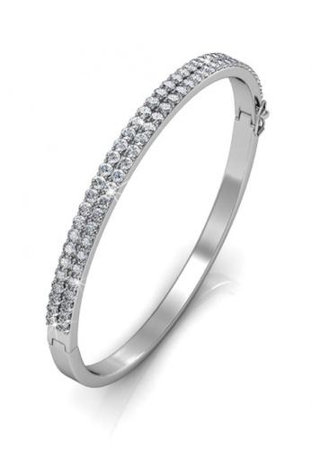 Her Jewellery silver Swarovski® Crystals - Glamour Bangle (18K White Gold Plated) Her Jewellery HE581AC0RDOOMY_1
