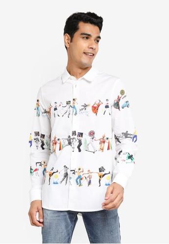 Desigual white Arty slim shirt 3AE9DAAC255A52GS_1