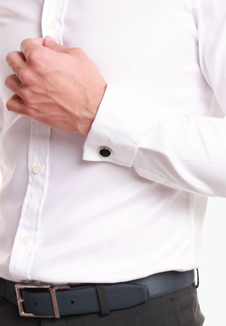Twill Shirt M Lewin M Double Cuff LEWIN T T Fitted White White 0tBnqnAS