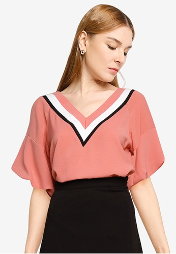 Nichii 粉紅色 Flare Sleeves V-Neck Top 87661AA440B29BGS_1