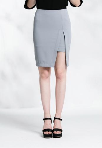 Les Premieres grey Pencil Slit Skirt 28081AAE6A4996GS_1