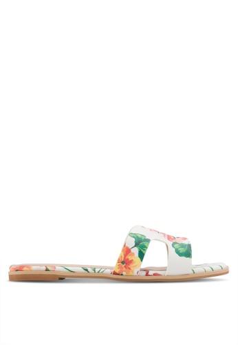 Nose white Floral Print Slip-On Sandals NO327SH47CVKMY_1