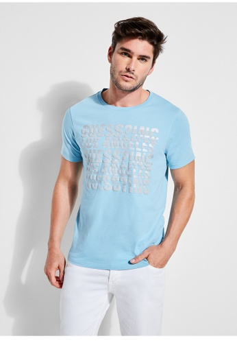 Guess blue Guess Spliced Graphic Logo Tee 03926AA47C664FGS_1