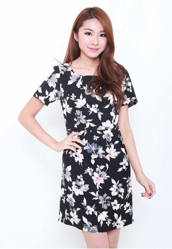 Leline Style black Kandyce Floral Dress LE802AA10RHXSG_1