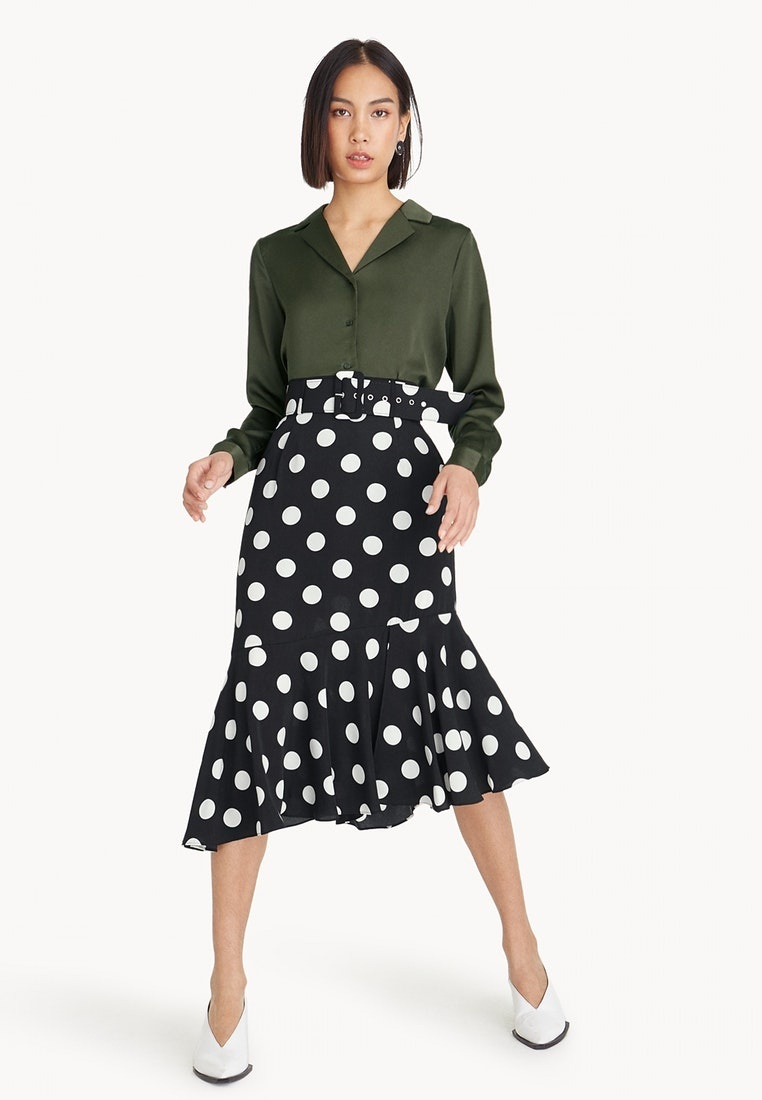 Polka Mermaid Skirt Belted Black Dot Midi Pomelo zw6fq5