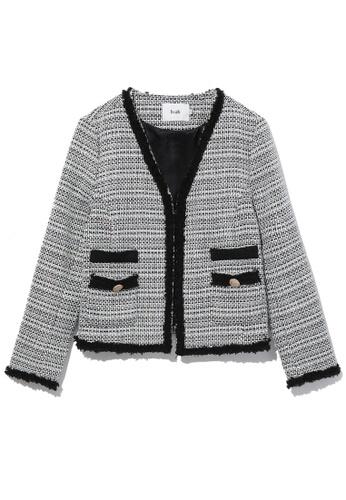 b+ab black Tweed cardigan jacket DAACAAAE78B923GS_1