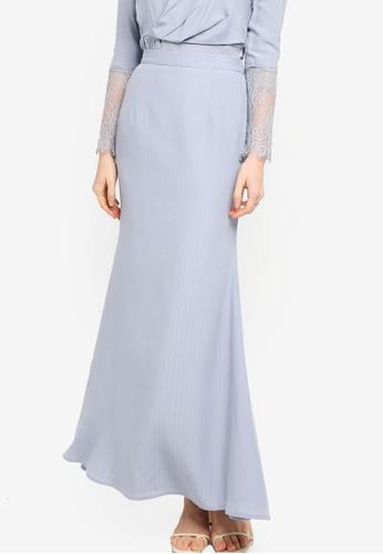 Lubna grey Matte Satin Mermaid Skirt 11628AADCFFF22GS_1