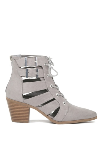 London Rag grey London Rag Abbey  Women's Grey Cut Out Mid Heel Sandals SH1637 519EDSH1E7596DGS_1