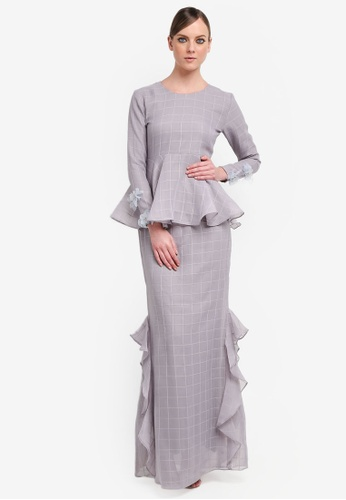 Kree for ZALORA grey and purple Richie Peplum Kurung Drape Skirt KR498AA0STGPMY_1