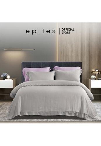 Epitex grey Epitex XH5812 Tencel 1000TC Printed Bedsheet - Fitted - Bedding Set (w/o quilt cover) - Silver 81AE2HL885EC67GS_1