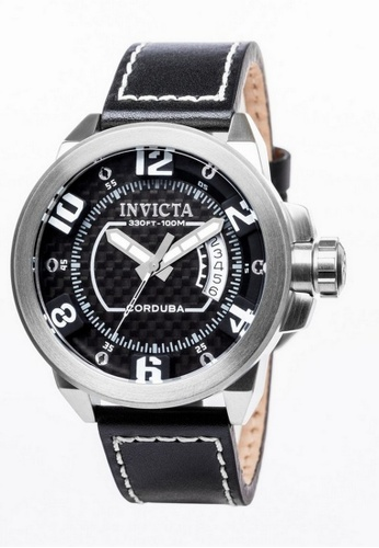 INVICTA silver Invicta Corduba Men 46mm Case Black Leather Strap Black Dial Quartz Watch 90206 IN968AC0F5BFSG_1