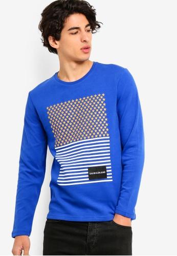 Calvin Klein 藍色 Long Sleeve Fashion Logo Slim Tee - Calvin Klein Jeans D6B7DAA73E8F85GS_1
