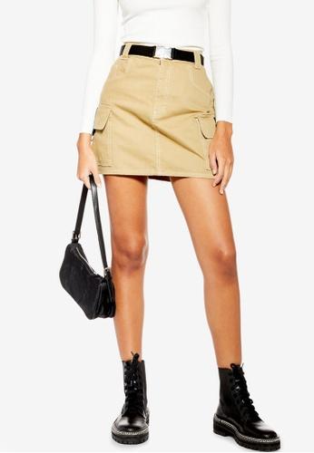 TOPSHOP beige Tan Clip Buckle Denim Skirt A9B36AA4B50C07GS_1