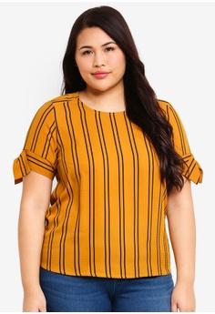 ad2dfa86caf Ex otico yellow Plus Size Short Sleeve Striper Blouse E2BC2AA8DE3FFFGS 1