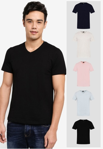 ZALORA black and white and pink and blue and navy 5 PACK COTTON V NECK SHORT SLEEVE TEE ZA819AA0T27FMY_1