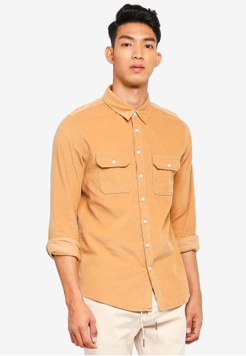 Cotton On brown and beige Vintage Cord Shirt 7348AAAD621B65GS_1