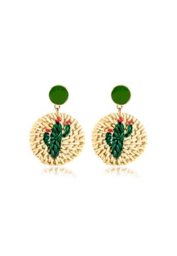 Kings Collection white Rattan Print Cactus Circle Earrings (KJEA20018) E289CACA140EF4GS_1