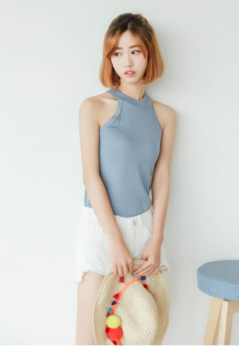 Shopsfashion blue Fanny Baisc Knitted Top in Blue 23297AA271FE45GS_1