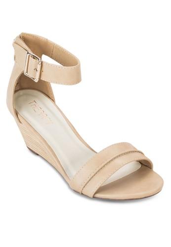 Nooesprit女裝sa 寬帶繞踝楔型鞋, 女鞋, 鞋