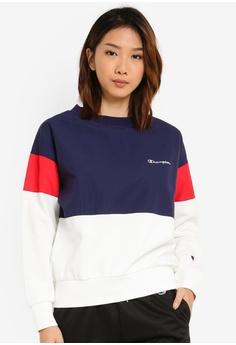 ee5de7f8 Champion white and navy Japan Range Crew Neck Sweatshirt BBAADAA24D7226GS_1