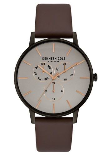 Kenneth Cole brown Kenneth Cole - Grey Dial with Rose Gold Markers and Brown Leather Strap KE854AC0GNVJSG_1