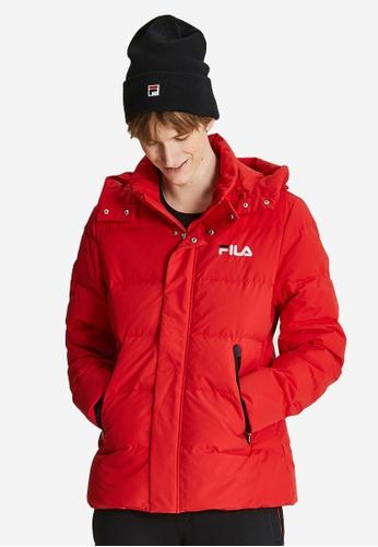 FILA red FILA Logo Hooded Down Jacket 84444AA38F562FGS_1