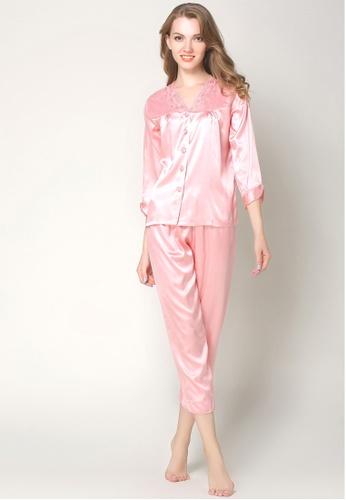 separation shoes 6ecae 308cb Silk Long Sleeve Long Pants Pyjamas Set L7019-Pink