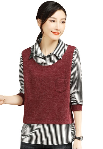 A-IN GIRLS red and multi Fake Two Piece Stitching Striped Top B91E9AAB52AC9EGS_1