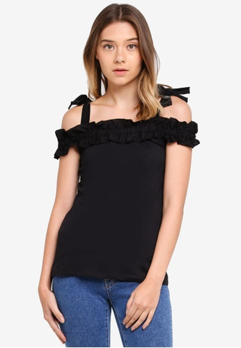 Dorothy Perkins black Black Ruffle Cold Shoulder Top E220DAA56121EEGS_1