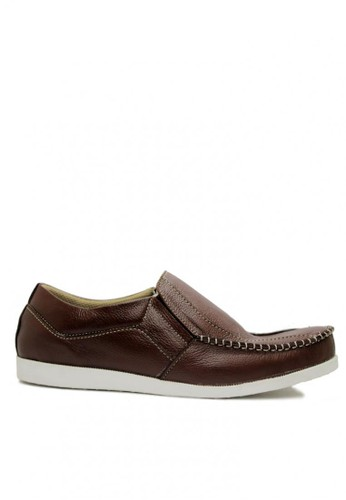D-Island brown D-Island Shoes Slip On Comfort Genuine Leather Dark Brown DI594SH17BFIID_1