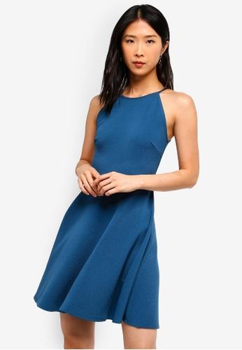 ZALORA BASICS blue Basic Halter Neck Dress 56ED4AA4442B1DGS_1