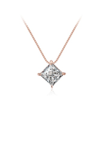 Glamorousky white 925 Sterling Silver Plated Rose Gold Geometric Diamond Pendant with Cubic Zircon and Necklace 60CF0AC2B57F63GS_1