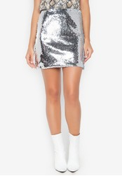 Chase Fashion silver Sequin Club Skirt 0562DAAF3F394FGS_1