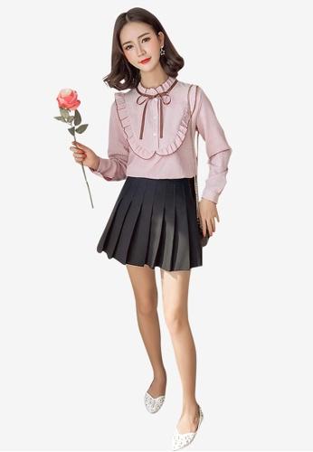 Lara pink Women's High Neck Shirt with Frill Detail 50C58AA47E59D4GS_1