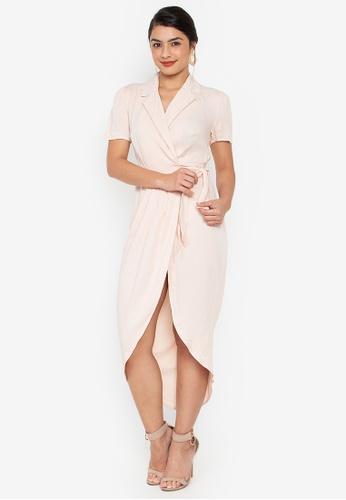 Wear Kris pink Kennedy Overlap Woven Dress 49D39AA2D35977GS_1